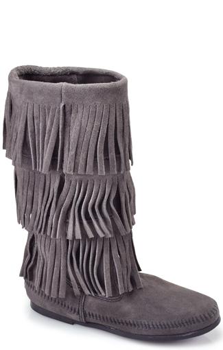 3 layered fringe boots
